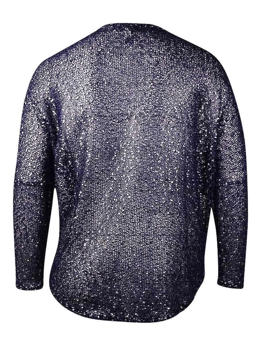 Alfani Womens Open-Knit Metallic Sweater