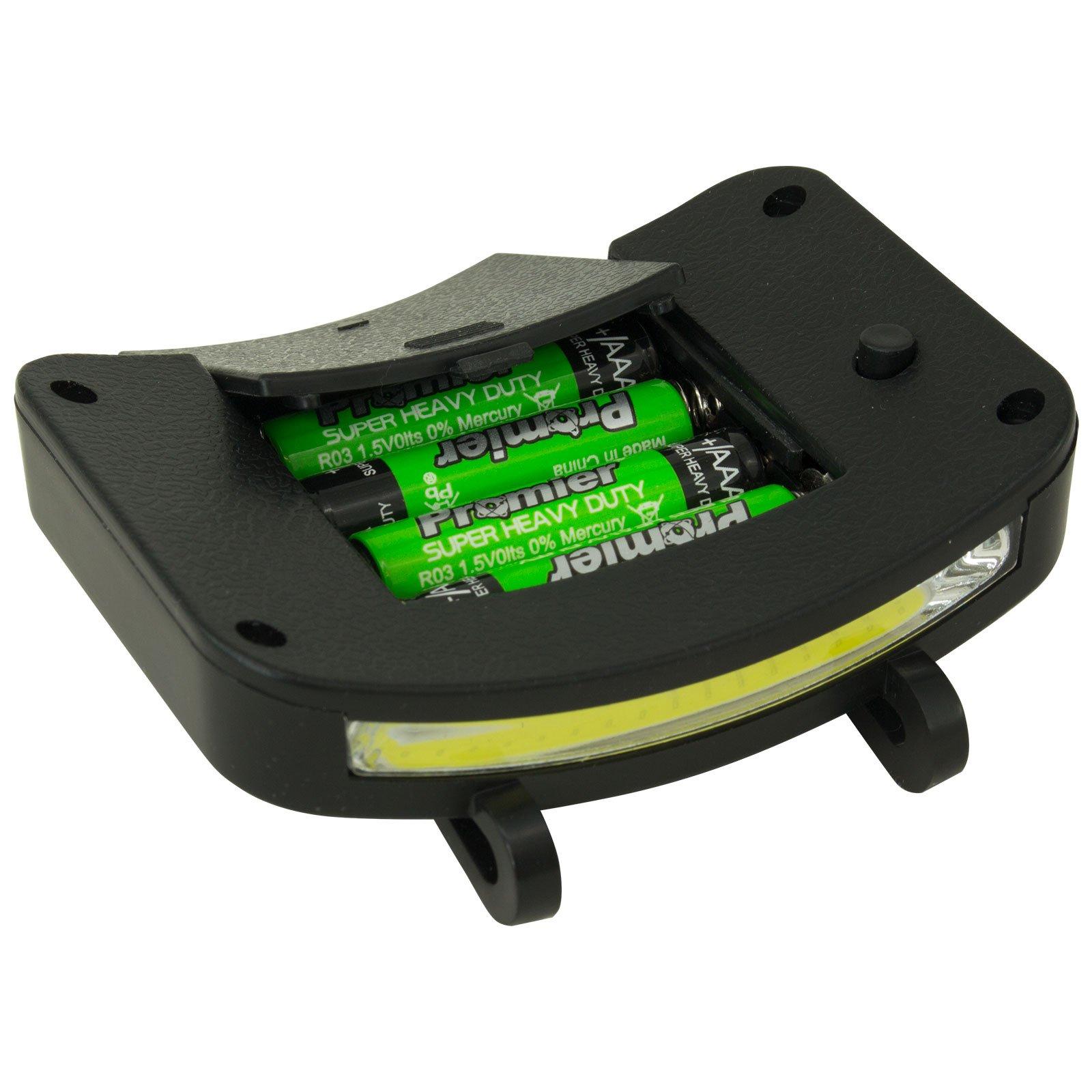 2 PACK - 400 Lumen Hi Mode / 180 Lumen Low Power Mode (2 X Cap Lights > 2 X Power & 2 X Bright) COB LED Clip On Cap Light DOUBLE BRIGHT (100% MFG Guarantee) (Black) by Apollo's Products (Image #8)