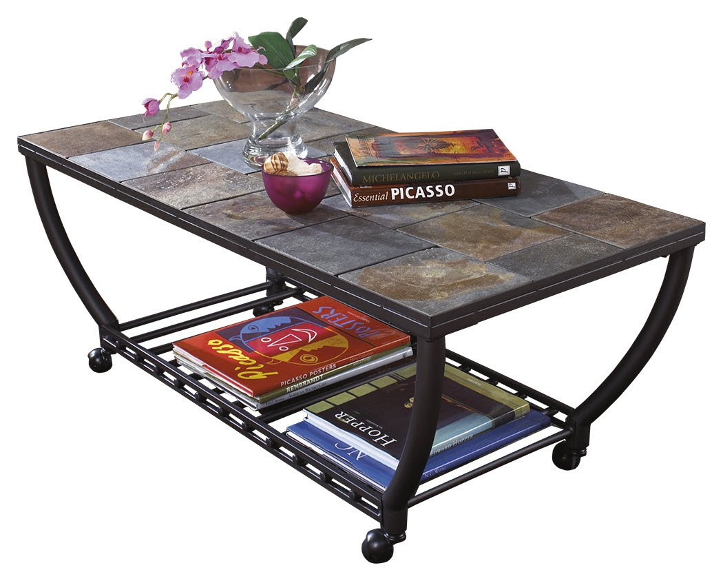 Ashley Furniture Signature Design - Antigo Coffee Table - Slate Top with Metal Bottom - Cocktail Height - Contemporary - Black
