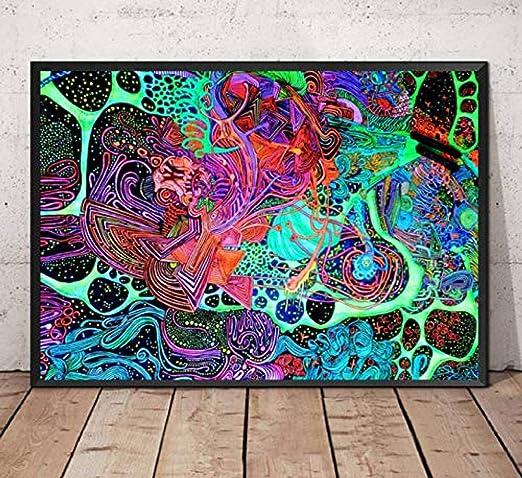 XQWZM Cartel Decorativo, Pinturas de luz Negra psicodélico ...