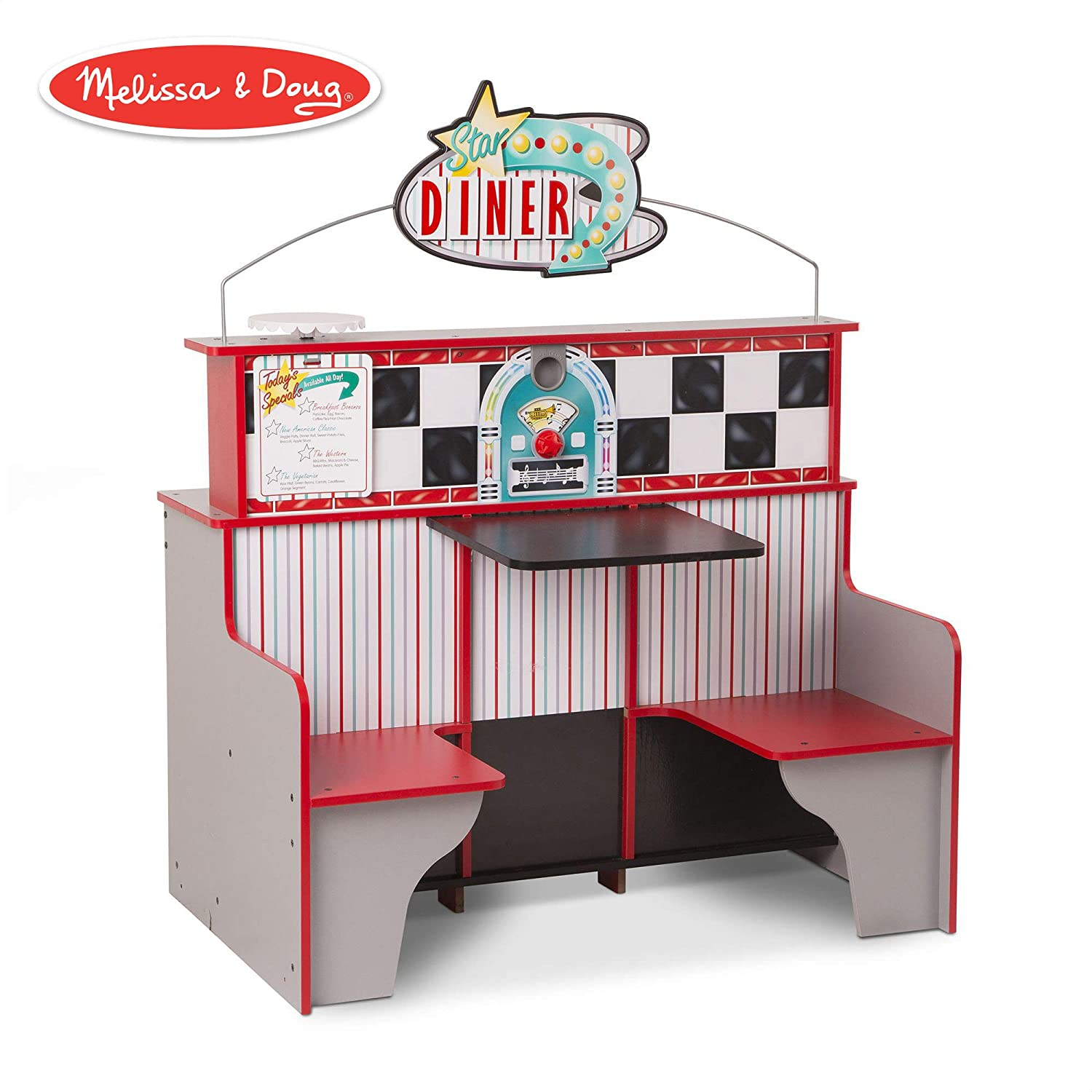 """Melissa & Doug Star Diner Restaurant (Play Set & Kitchen, Wooden Diner Play Set, Two Play Spaces in One, 35"""" H x 23"""" W x 43.5"""" L)"""