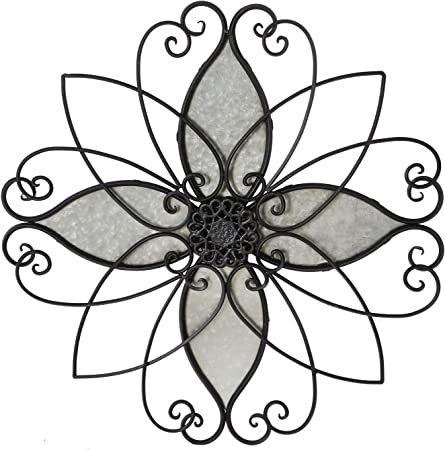 23x23 Inches Adeco Rustic Urban Flower Scrolled Metal Wall Hanging Decor