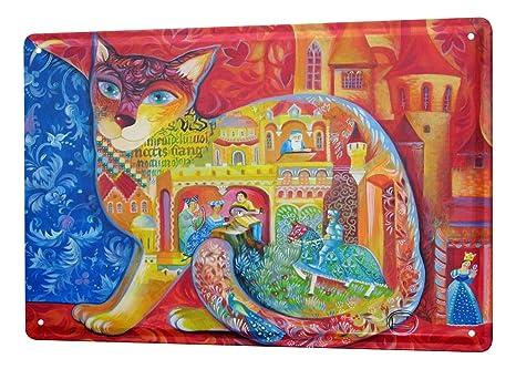 Cartel Letrero de Chapa Raza De Gato Caballero