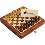 """Best Travel Chess Set - SouvNear 7.5"""" Magnetic Folding Board - Portable Chess Game Handmade in Fine Rosewood with Storage for Chessmen and Travel Bag"""
