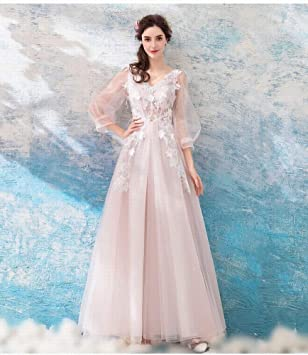 YT-RE Delicado Vestido Bordado de Encaje Rosa Claro Vestido de Novia de Manga Larga