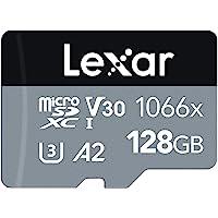 Lexar Professional 1066x 128 GB microSDXC UHS-I-kaart met SD-adapter uit de SILVER-serie, tot 160 MB/s lezen…