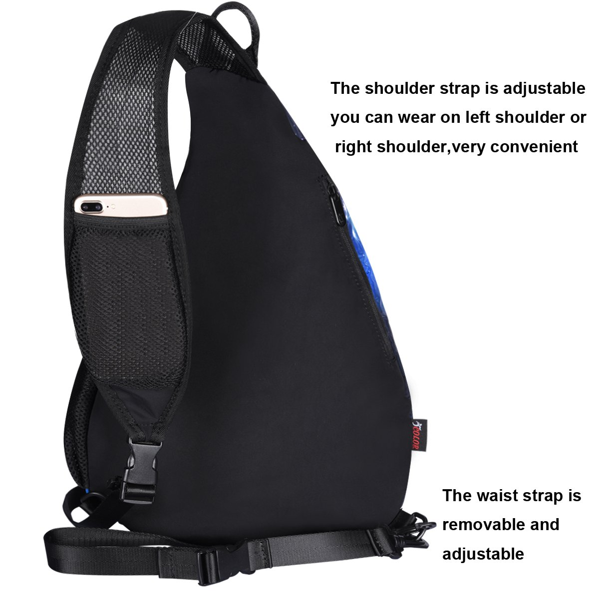 ICOLOR Unisex CrossBody Shoulder Sling Bag Travel Backpack Chest Bag for Men Women Boys Girls Outdoor Activities ideas Camping Hiking Cycling Bicycling Lightweight Daypack with Adjustable Shoulder Strap