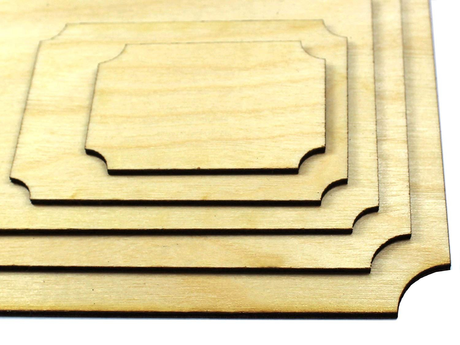 A4 PLY Wood Scalloped Plaque Craft Wooden Vintage Shape Pyrography Blank by CraftSupplyUK, 4 Pack UK STYLE HOUSE