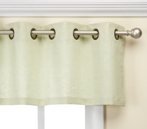 Veratex Contemporary Style Luxury 100 Linen Construction Made In The USA Grommet Fastener Style Window Valance, Sage