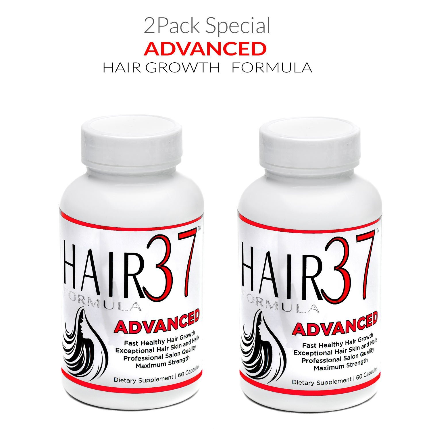 Hair Formula 37 Advanced with Biotin 2 Pack - Vitamins for Hair Growth Supplements for Faster Growing Hair Skin and Nails