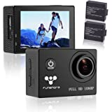 Underwater Action Camera By Funshare, Waterproof Sports Cam for Swimming, Cycling and Snorkelling, HD 1080P 12 Mega Pixels Resolution 170° Angle Lens Mountable Durable Batteries (Black)