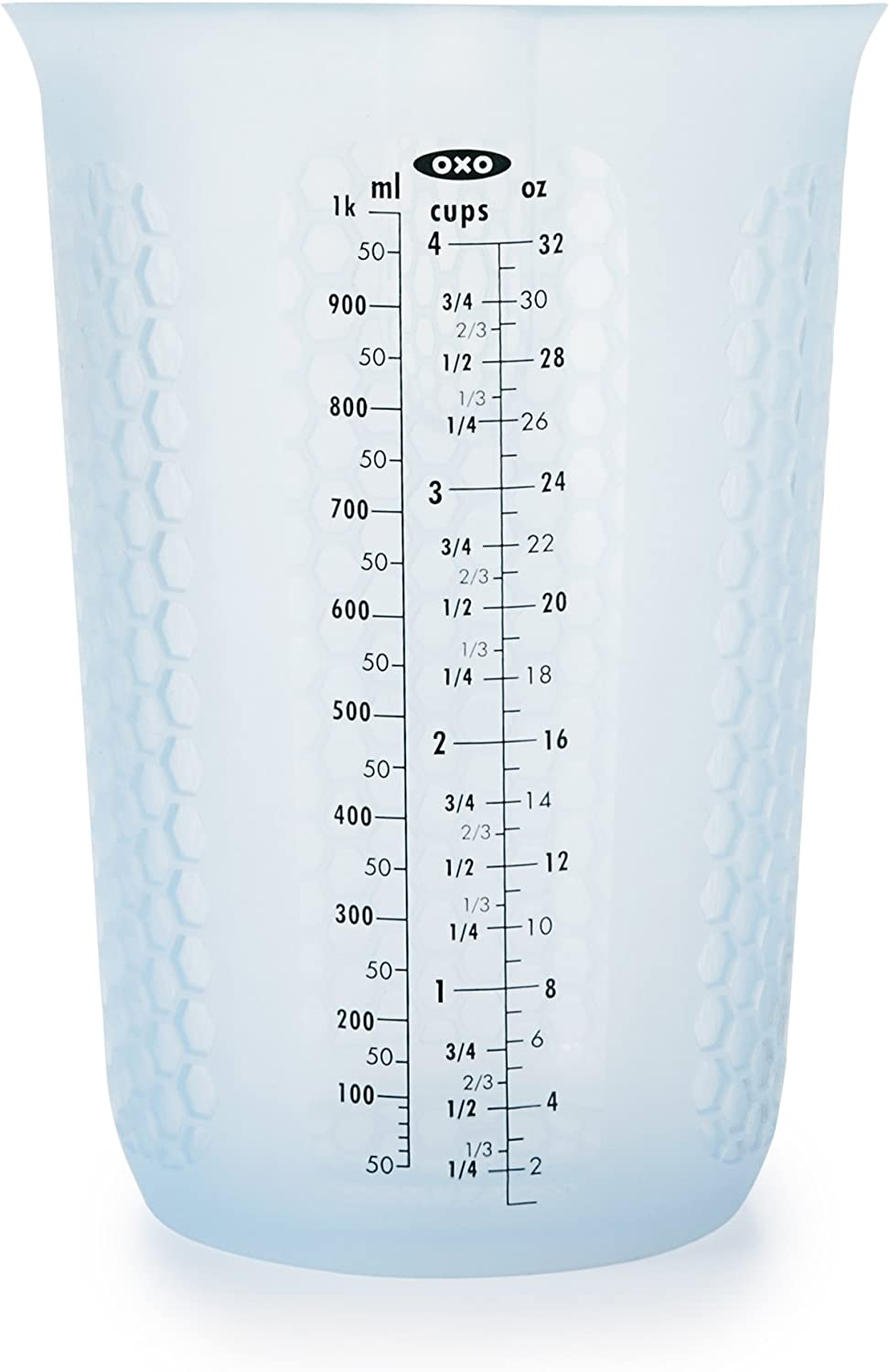 OXO Good Grips 4-Cup Squeeze & Pour Silicone Measuring Cup with Stay-Cool Pattern