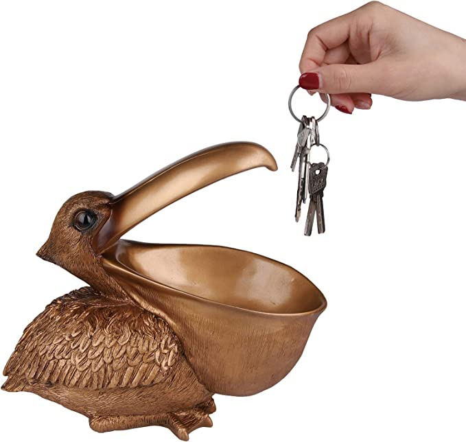 Retro Pelican Statue Ideal for Entrance Decor San Qing Storage Basket Home Decor /& Gift 25Cm*15Cm*21Cm,Gold Pelican Storage Figurine Key Holder