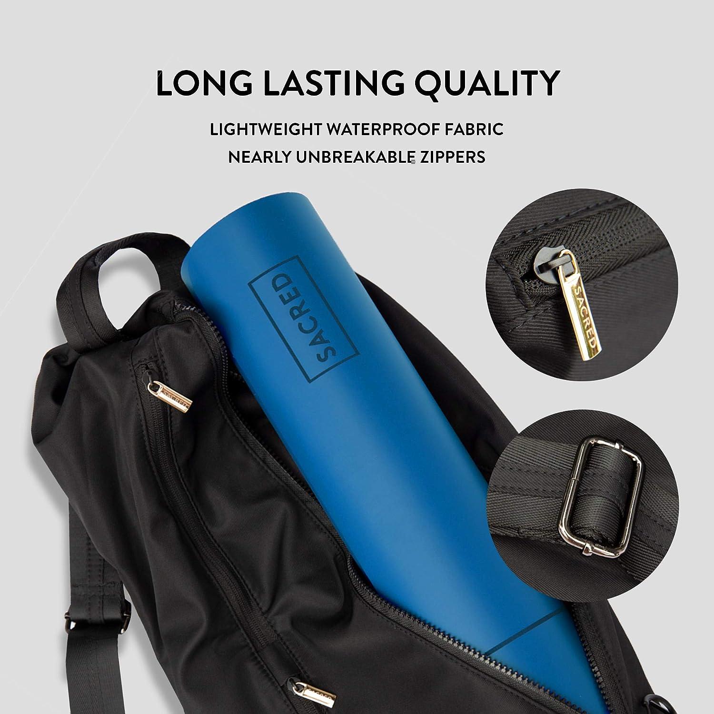 SACRED Yoga Waterproof Yoga Mat Bag Durable Exercise Mat Bag with Hidden Pockets Compact Unisex Yoga Mat Storage Sling Bag with Shoulder Strap