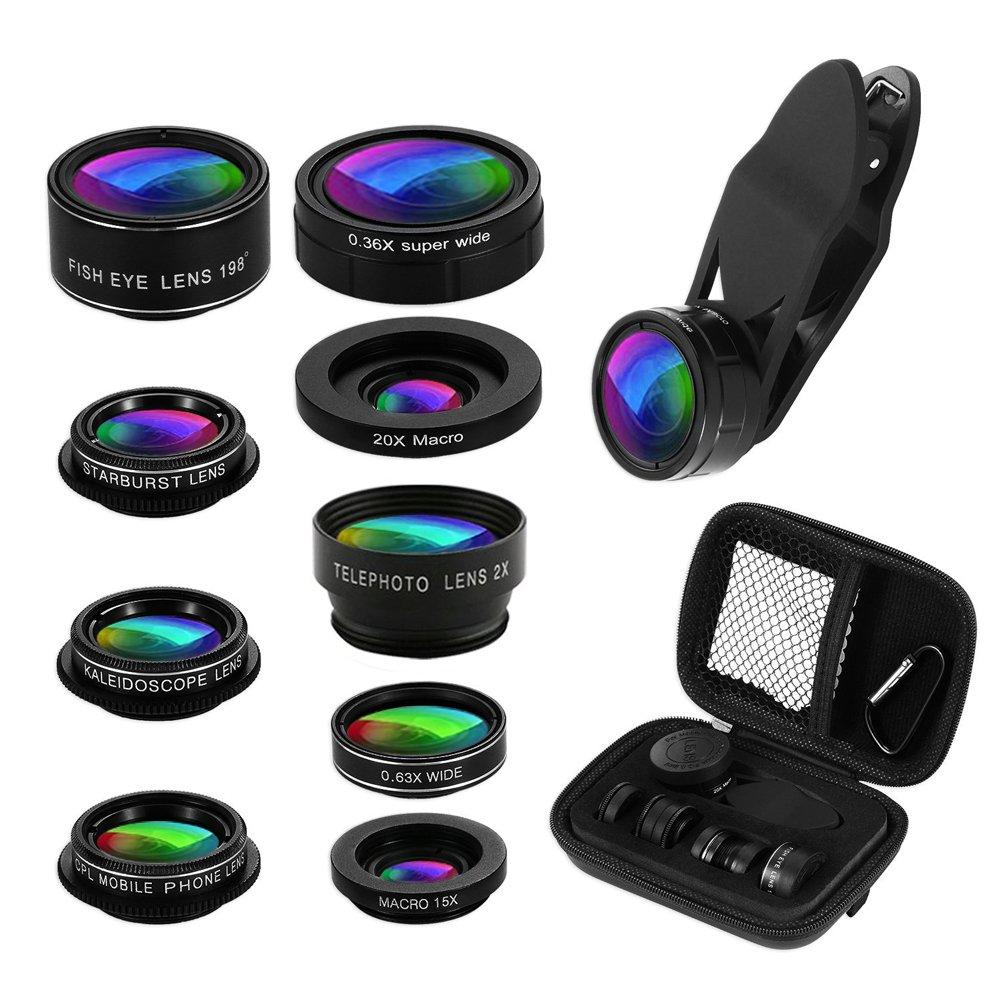 Phone Camera Lens Kit, 9 in 1 Zoom Universal Telephoto Lens+198° Fisheye lens + 0.36 Super Wide Angle Lens + 0.63X Wide Lens +20X Macro Lens + 15X Macro Lens + CPL + Kaleidoscope Lens + Starburst Lens by KNGUVTH