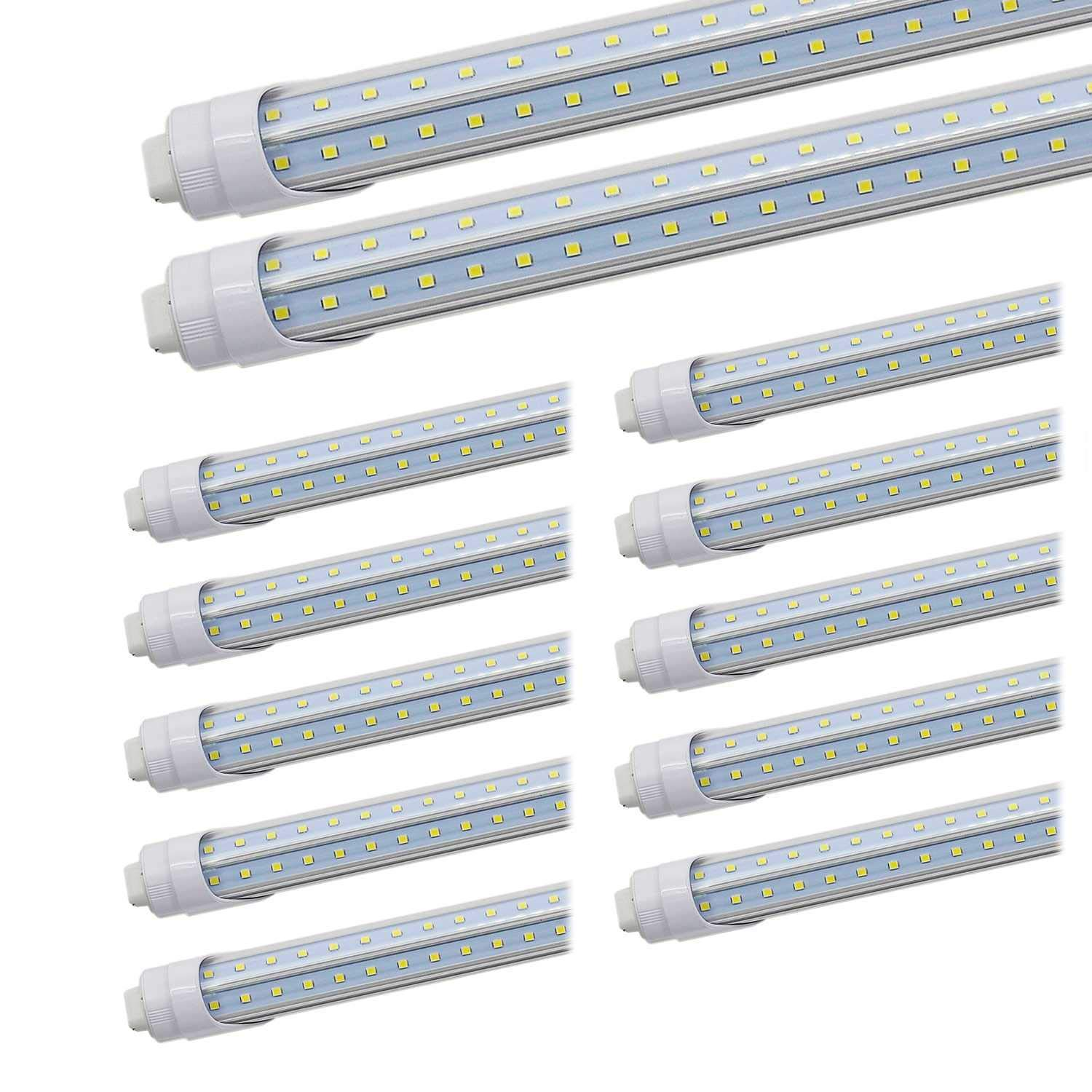 JESLED R17D/HO 8FT LED Bulb - Rotate V shaped, 5000K Daylight 50W, 6750LM, 110W Equivalent F96T12/DW/HO, Clear Cover, T8/T10/T12 Replacement, Dual-Ended Powered, Ballast Bypass, Pack of 12 by JESLED (Image #1)