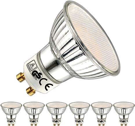 EACLL Bombillas LED GU10 2700K Blanco Cálido 5W 450 Lúmenes Equivalente 50W Halógena. 120 ° Luz Blanca Cálida Lámpara Reflectoras Spotlight LED, 6 Pack: Amazon.es: Iluminación