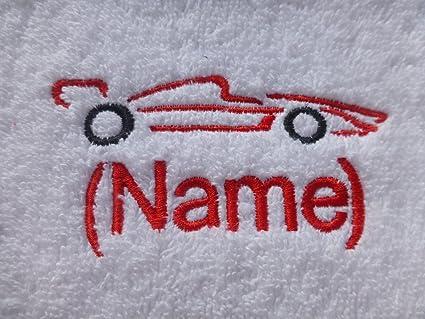 Toalla de mano con un coche de carreras de Logo y nombre de su elección (