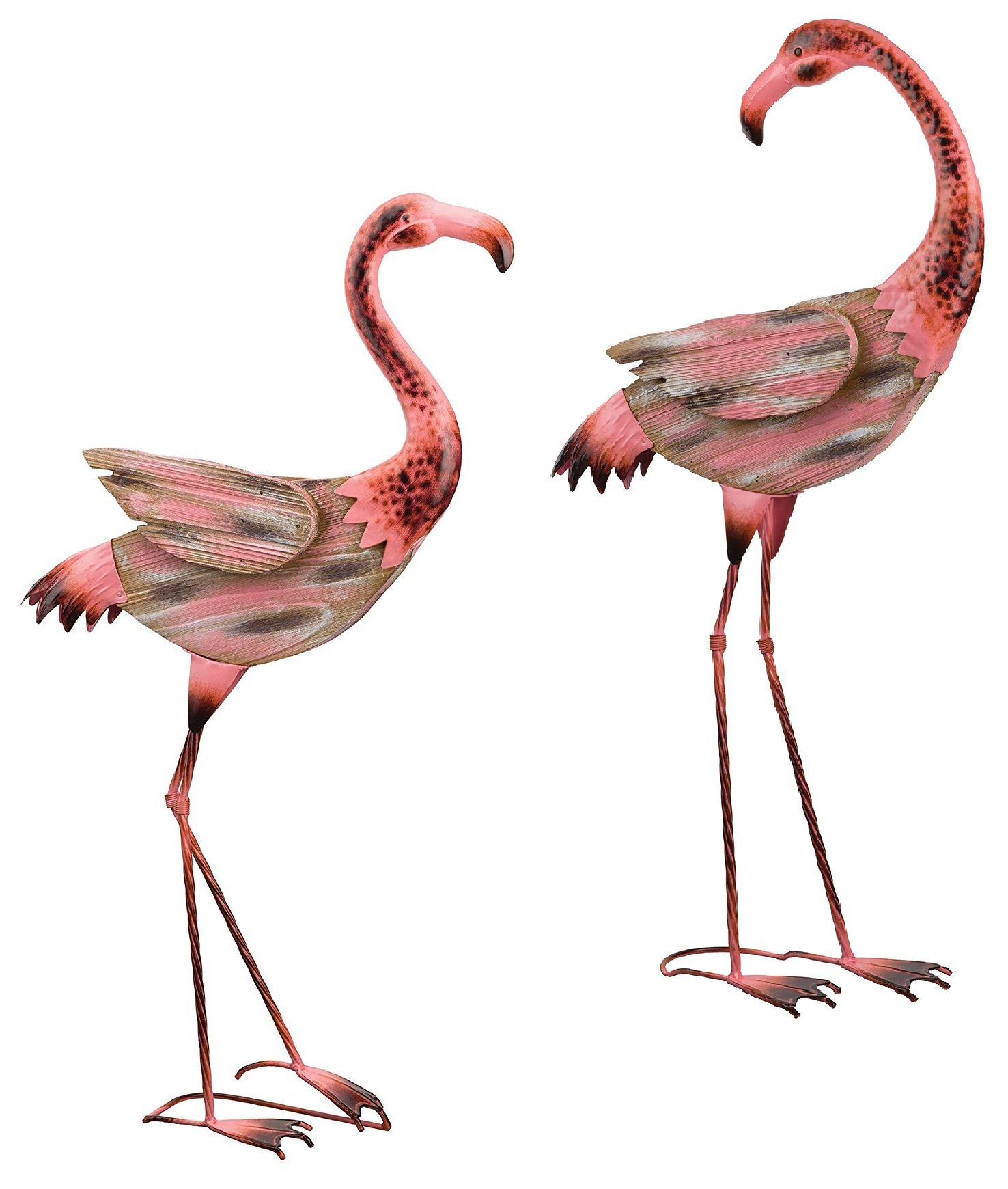 Regal Art & Gift Key West Metal Wood Flamingo Bundle - Coastal Bird Statuary
