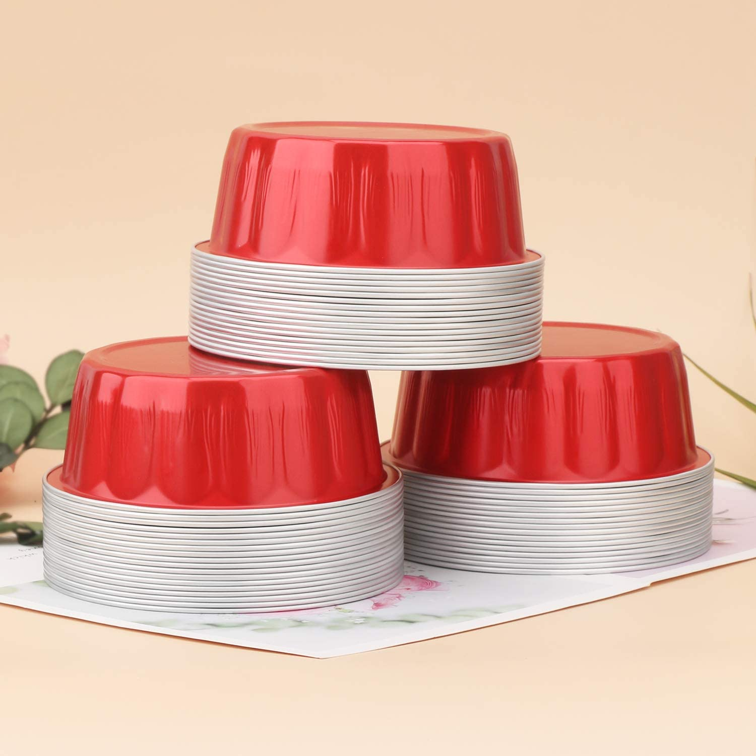 Red Beasea 8 oz 3.9 Bake Utility Ramekin Cup Souffle Cup Muffin Cupcake Baking Cup Mini Pudding Cups for Party Wedding Birthday Disposable Aluminum Foil Cups 100 Pack