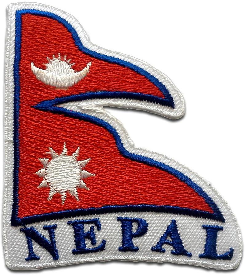 Parches - Nepal bandera - rojo - 7,8x6,8cm - termoadhesivos bordados aplique para ropa: Amazon.es: Hogar