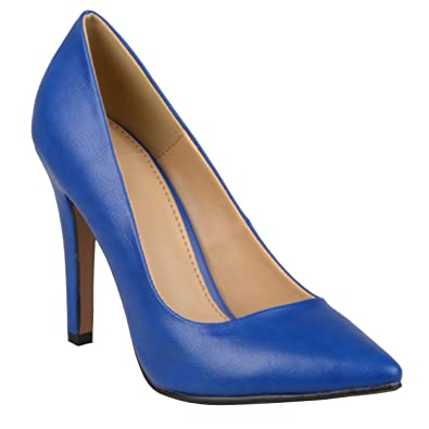 Journee Collection Womens Pointed Toe Matte Finish Pumps Blue, 6 Regular US