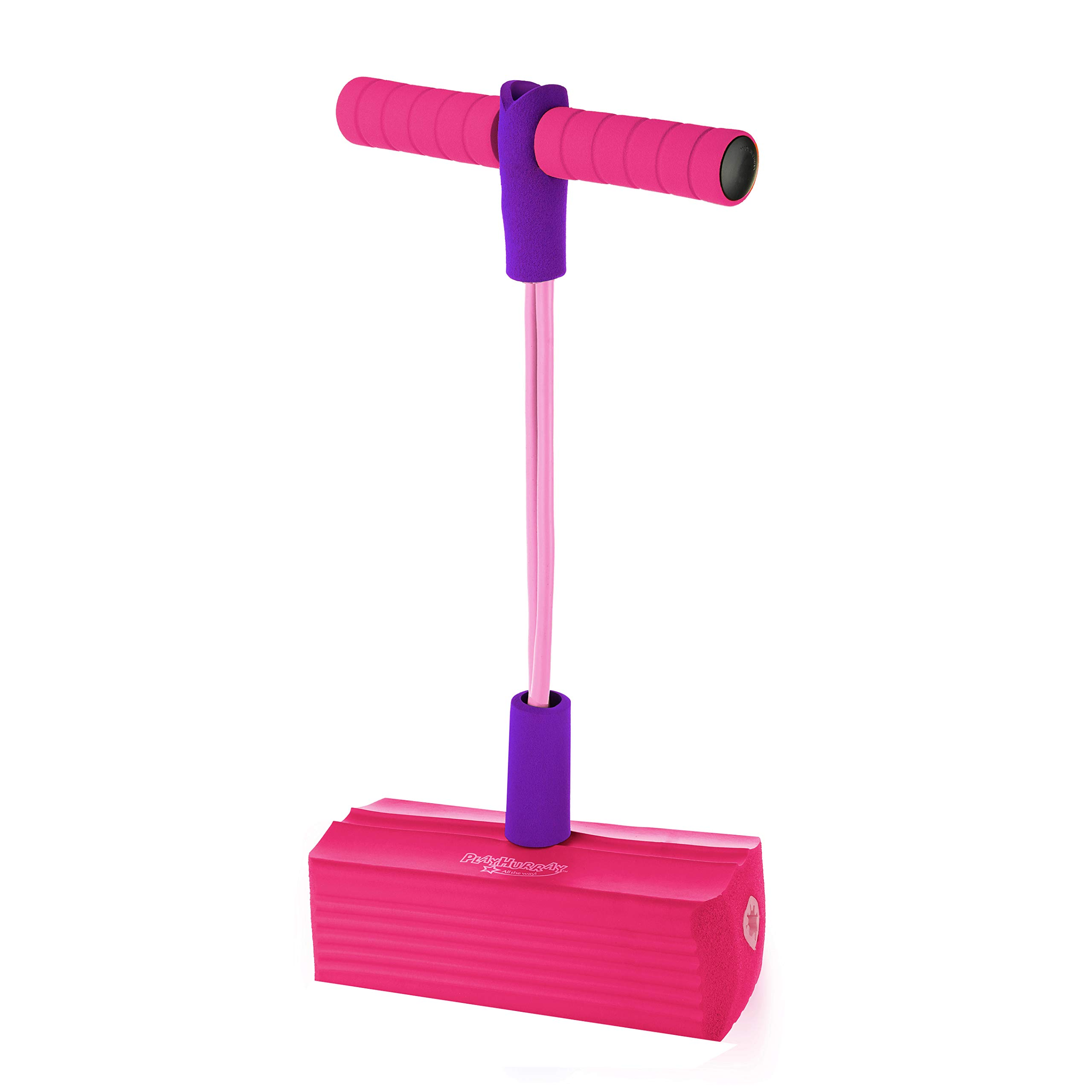 The Original Foam Pogo Jumper for Kids 100% Safe Pogo Stick, Strong Bungee Toy for Toddlers, Fun Foam Hopper for Children Boys/Girls, Squeaks with Each hop! Supports up to 250lbs. (Pink/Purple) by PlayHurray