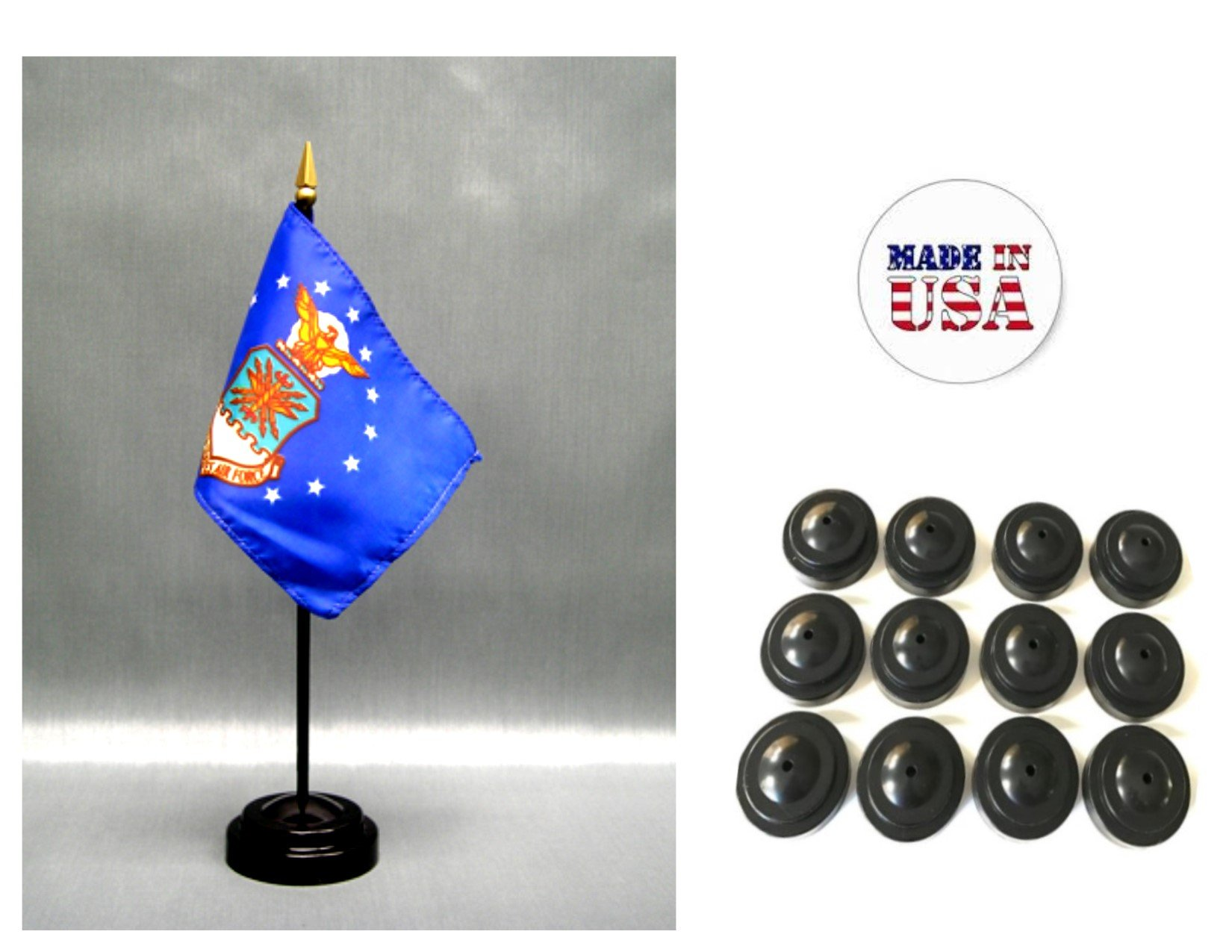 MADE IN USA!! Box of 12 United States Air Force 4''x6'' Miniature Desk & Table Flags Includes 12 Flag Stands & 12 American Made Small Mini USAF Stick Flags