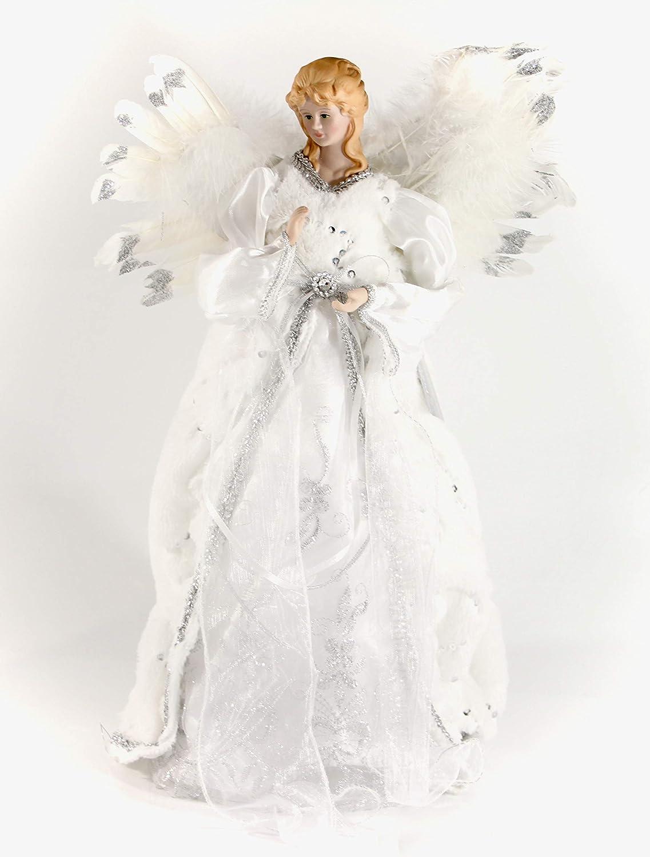 40 cm Baum Top Engel mit Feder Flügeln in Gold oder Silber silber