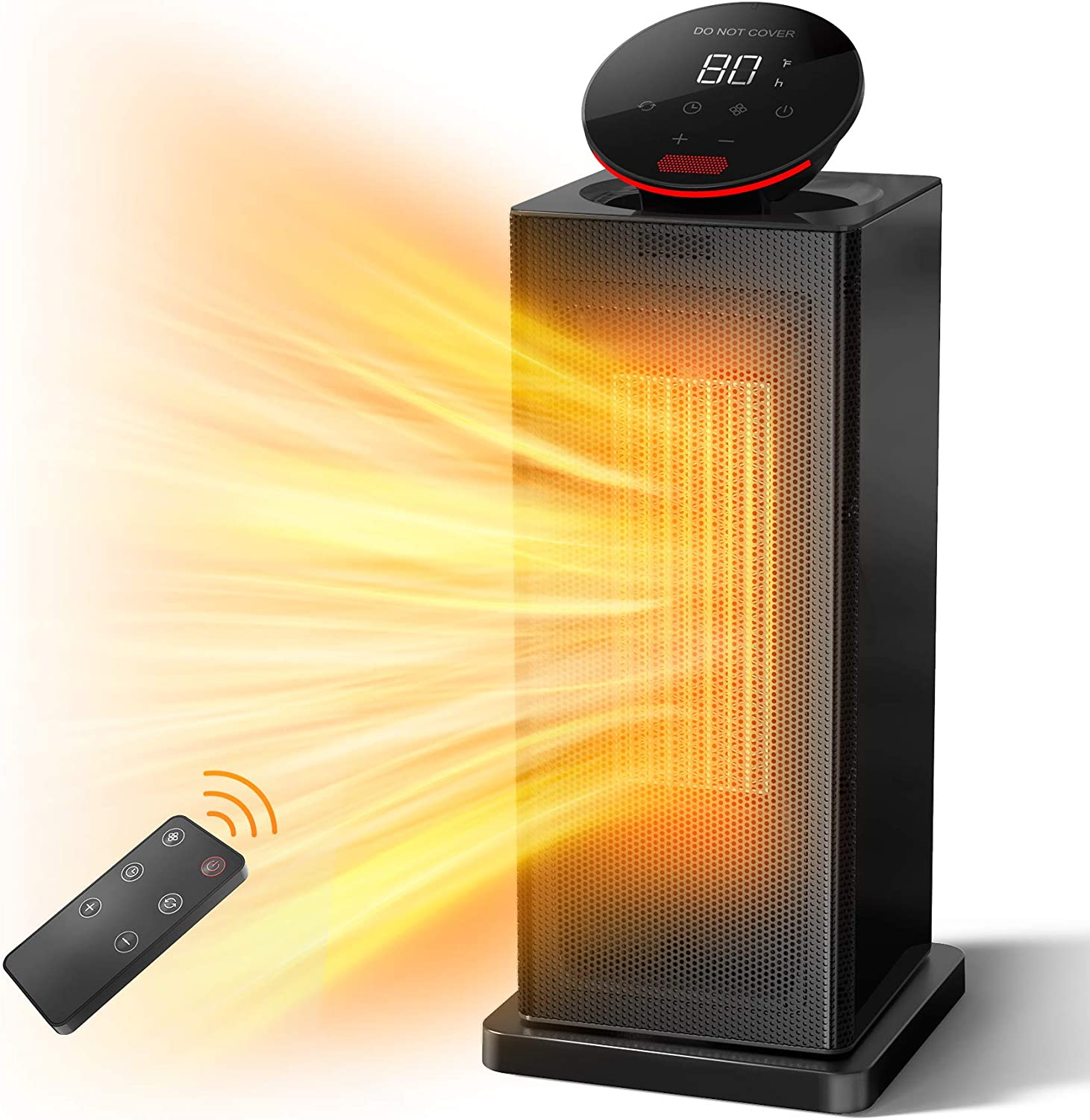 ALROCKET Space Heater, 1500W PTC Heater with ECO Thermostat, Tower Heater Oscillating Electric Heater with Remote Control, 24H Timer LED Display, Overheat Tip-over Protection Fast Heat for Home Office