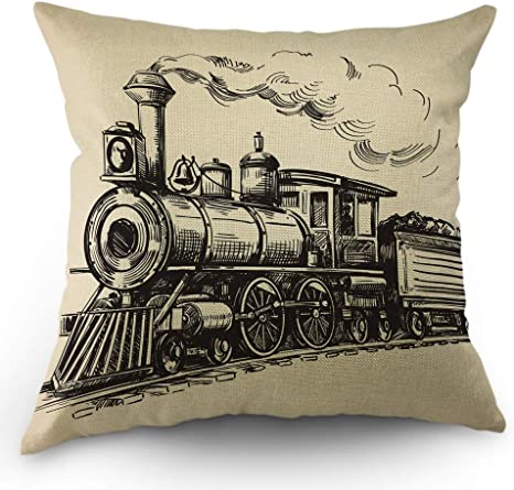 Amazon Com Moslion Train Throw Pillow Cover Vintage Train In Country Locomotive Wooden Wagons Rail Road With Smoke Pillow Case 18x18 Inch Cotton Linen Square Cushion Decorative Cover For Sofa Bed Beige Home