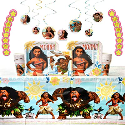 Moana Birthday Party Supplies Pack for 16 Guests: Stickers, Dinner Plates, Luncheon Napkins, Cups, Table Cover, Candle Set, and Hanging Swirls: Toys & Games