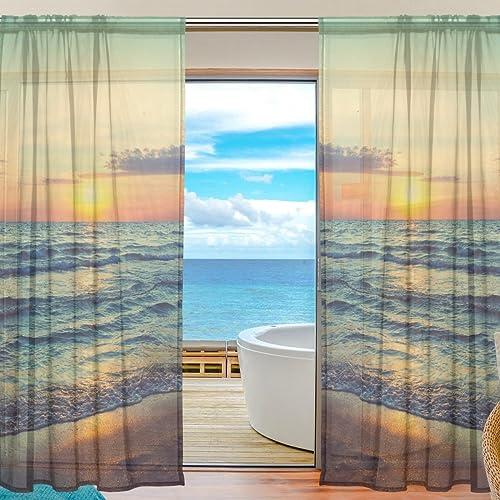 Oreayn Ocean Golden Sunset Beach Sheer Curtain
