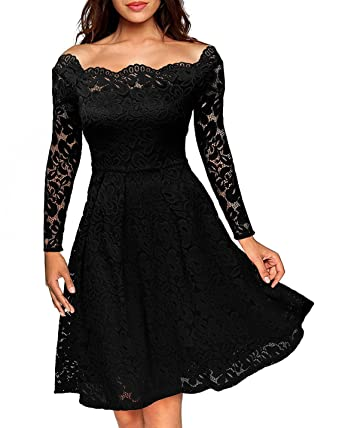 CWCentury Womens Boat Neck Cocktail Dresses Evening Vintage Floral Lace Long Sleeve Party Formal Swing Dresses