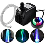 PULACO 10Watt 160 GPH Submersible Fountain Pump wiht LED Light for Water Feature, Outdoor Pond, Aquarium fish tanks, Home Déc