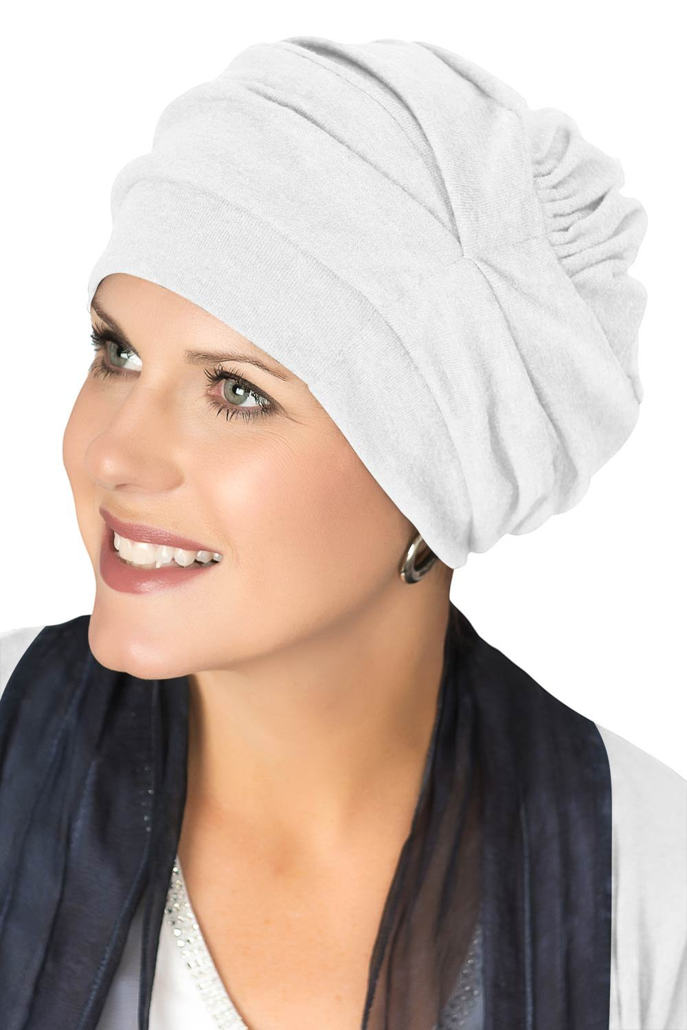 Headcovers Unlimited Trinity Turban-Caps for Women with Chemo Cancer Hair Loss White TU-12436-8119