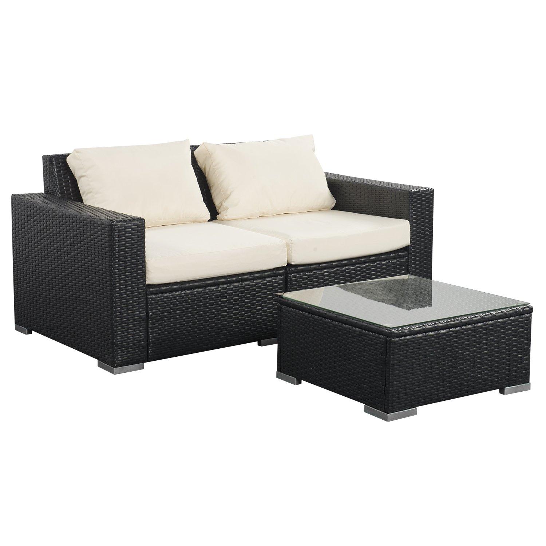 Amazon com doit patio white wicker rattan furniture sectionaloutdoor indoor wicker sofa sets 3 pieces fitness for bedroomgardenliving room garden