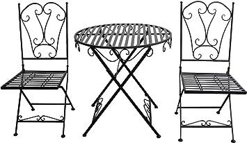 aubaho Salon de Jardin 1 Table et 2 chaises Fer Style ...