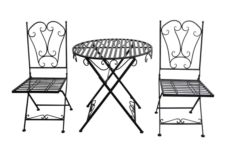 aubaho Gartenset Tisch 2 x Stuhl Metall Antik-Stil Garten Garnitur Bistro schwarz (a)