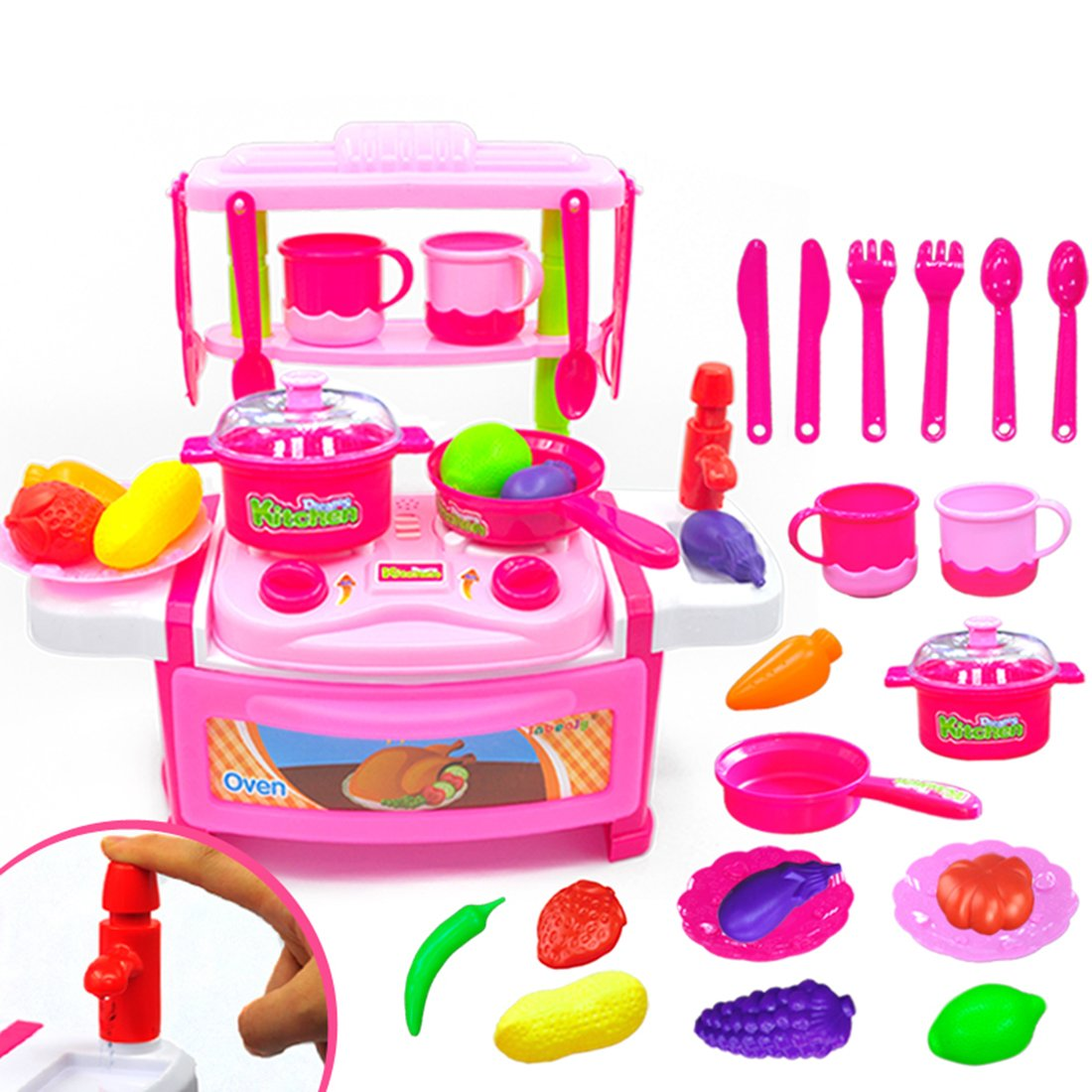 Kids Cooking Set Toys fcoson子料理調理器具Pretend Play Food詰め合わせセット23ピースキッチンキッチン用品セットwithサウンドandライト効果for Toddlersガールズボーイズベビー – ブルー/イエロー 23 pieces ピンク 5ZQ144335I7JKM633 23 pieces ピンク B075R4P34C