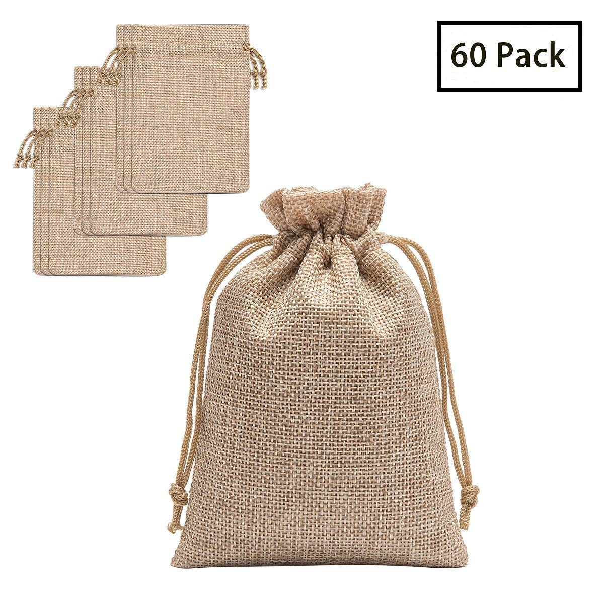 60 Pieces Burlap Bags with Drawstring - 5.3x3.8 inch Drawstring Gift Bags Jewelry Pouch for Wedding Party and DIY Craft