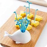 ShungHO Cute Creative White Whale Design Blue Water Spray Cake Fruit Fork Home Tools