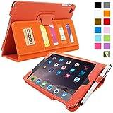 iPad Mini 3 Case, Snugg™ - Executive Smart Cover With Card Slots & Lifetime Guarantee (Orange Leather) for Apple iPad Mini 3 (2014)