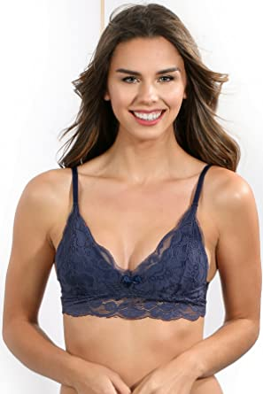 c616044f87 GB Intimates Navy Blue Lace Bralette for Women Unpadded V Neck Adjustable  Straps with Support (