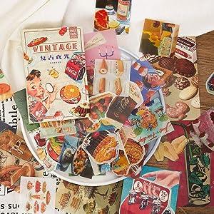 Vintage Washi Stickers Set Fruit Food Cake Pizza Ice Cream Biscuit Drink DIY Decorative Sticker for Scrapbooking Planner Letter Envelope Bullet Journal Diary Book Journaling
