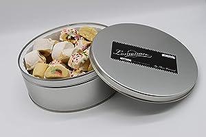 Lomonaco Sicilian Cookies, 30 Count Tin, Assorted, Cucidati (Italian Fig), Lustrato (Glazed), Neopolitano (Tri-Color), Pianura (Plain), Spruzzi (Sprinkled), & Sesamo (Sesame Seeds)