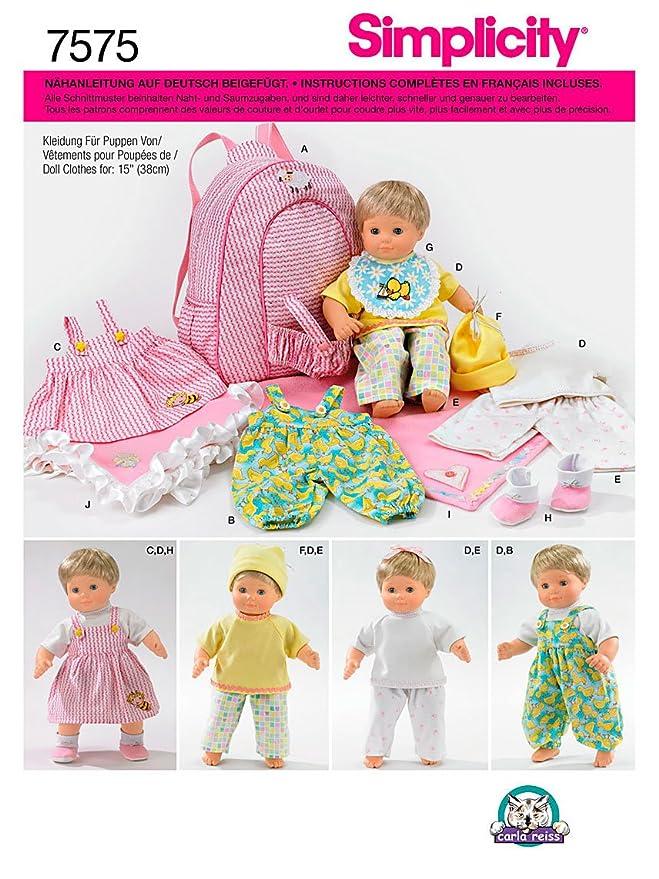 Simplicity Schnittmuster 7575 Puppenkleidung,Decke & Tasche Gr. bis ...