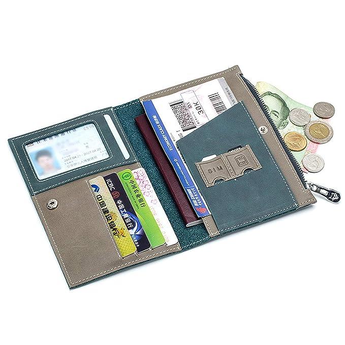 0d8a84db1a81 Badiya Genuine Leather Bifold Passport Wallet Slim Travel Passport Card  Holder