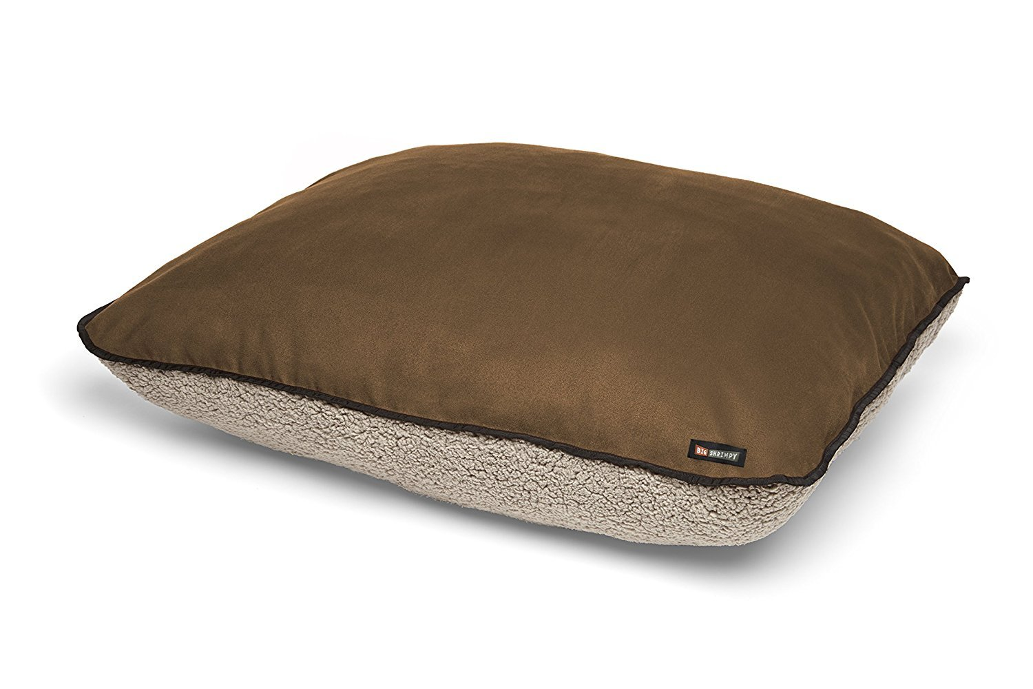 Big Shrimpy Bogo Dog Bed Replacement Cover, Faux Suede and Fleece, Large, Walnut