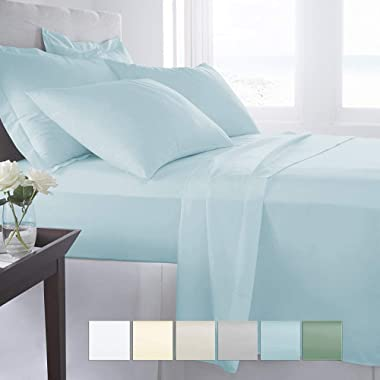 """Pizuna 400 Thread Count King Sheets Set Cotton Light Blue, 100% Long Staple Combed Cotton Sheets, Cotton Sateen Sheets Cotton fit Upto 17"""" Deep Pockets (Baby Blue 100% Cotton Sheets King)"""
